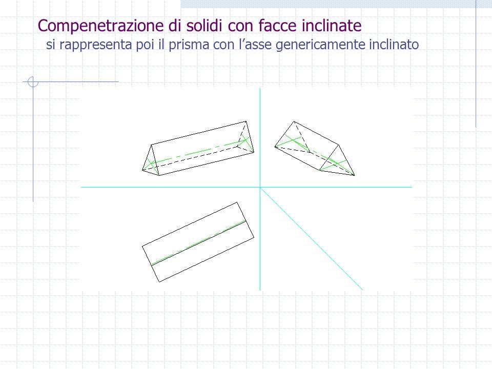 Compenetrazione di solidi con facce inclinate Si procede alla rappresentazione mediante le proiezioni ortogonali dei due solidi disposti, come previst