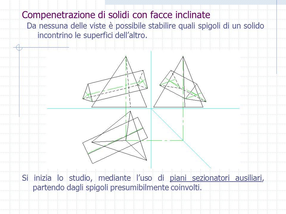 Compenetrazione di solidi con facce inclinate La rappresentazione deve avvenire, ovviamente, nel medesimo triedro.