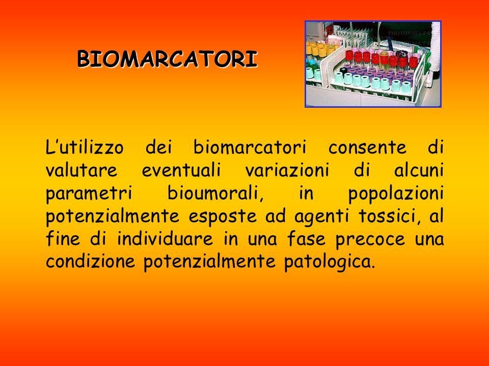 BIOMARCATORI Lutilizzo dei biomarcatori consente di valutare eventuali variazioni di alcuni parametri bioumorali, in popolazioni potenzialmente esposte ad agenti tossici, al fine di individuare in una fase precoce una condizione potenzialmente patologica.