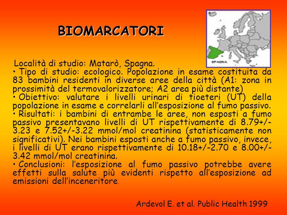 BIOMARCATORI Località di studio: Matarò, Spagna.Tipo di studio: ecologico.