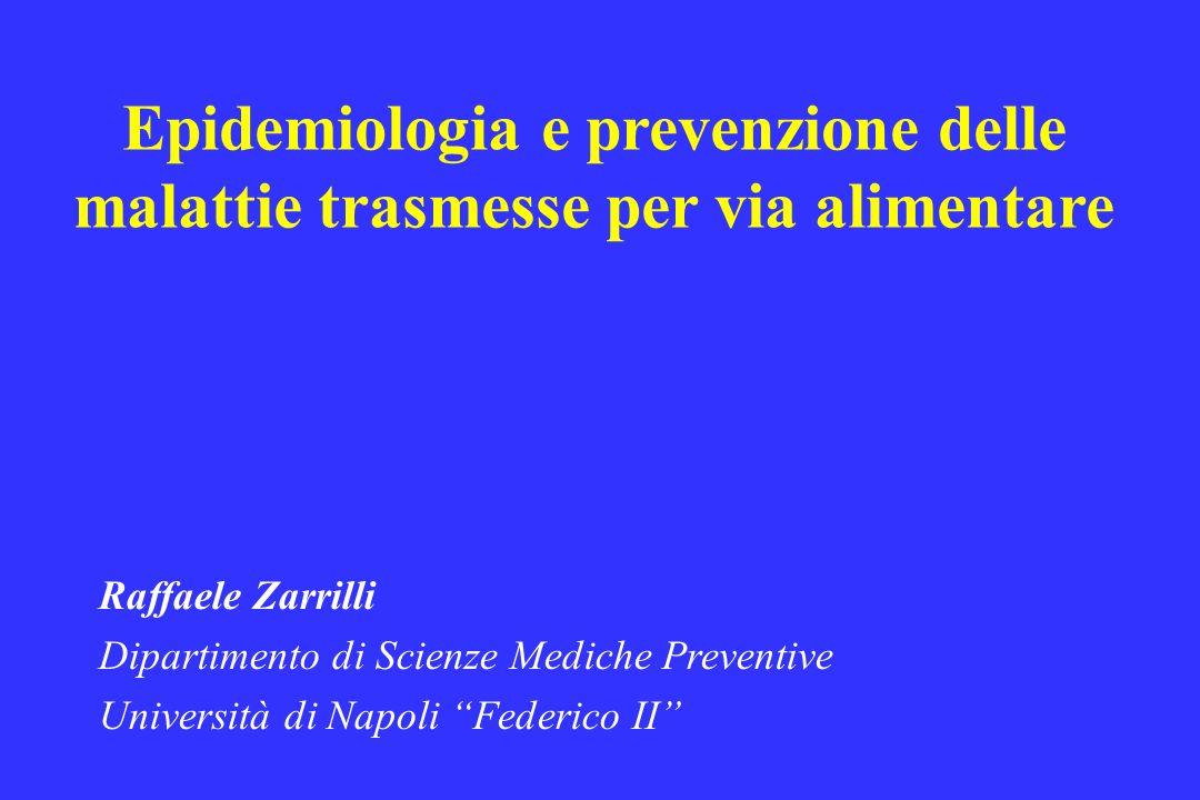 Epidemiologia e prevenzione delle malattie trasmesse per via alimentare Raffaele Zarrilli Dipartimento di Scienze Mediche Preventive Università di Nap