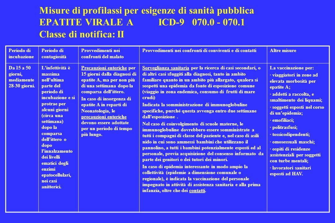 Misure di profilassi per esigenze di sanità pubblica EPATITE VIRALE AICD-9 070.0 - 070.1 Classe di notifica: II Periodo di incubazione Periodo di cont