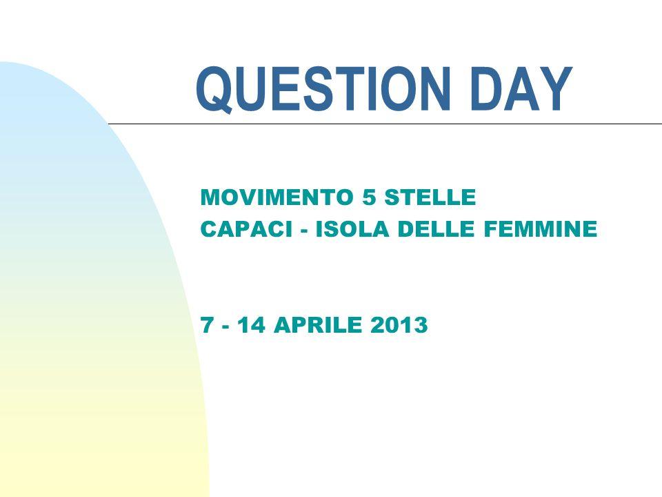 QUESTION DAY MOVIMENTO 5 STELLE CAPACI - ISOLA DELLE FEMMINE 7 - 14 APRILE 2013