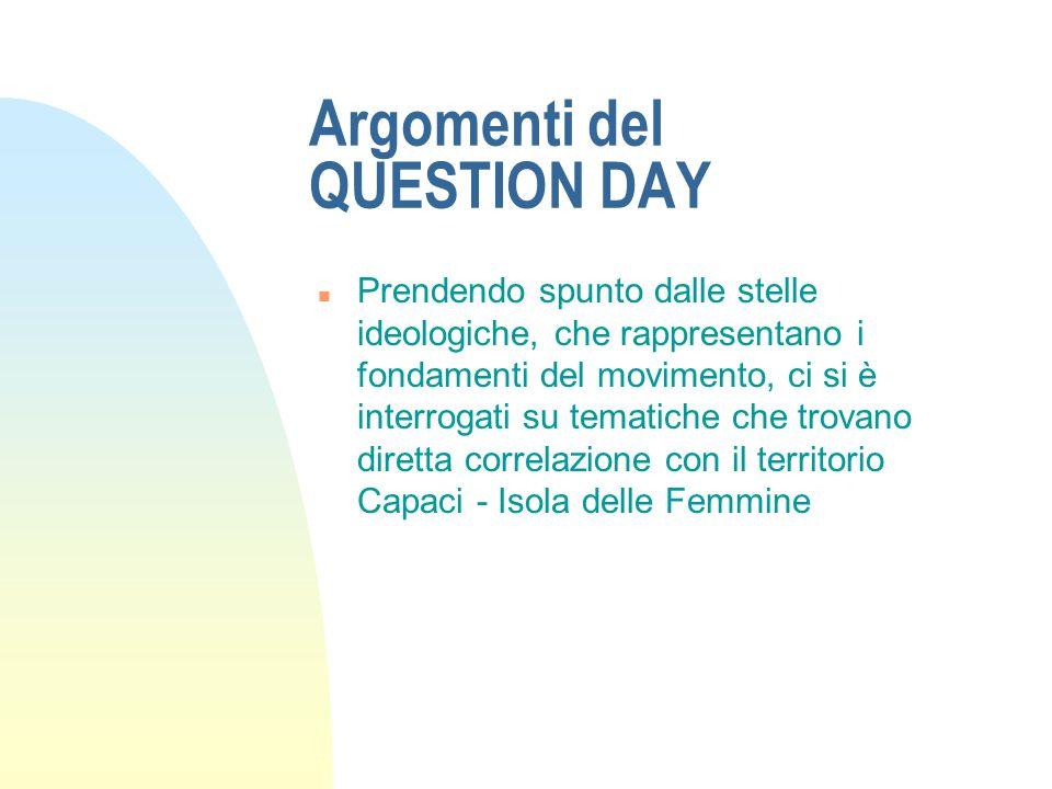 Argomenti del QUESTION DAY n Prendendo spunto dalle stelle ideologiche, che rappresentano i fondamenti del movimento, ci si è interrogati su tematiche che trovano diretta correlazione con il territorio Capaci - Isola delle Femmine