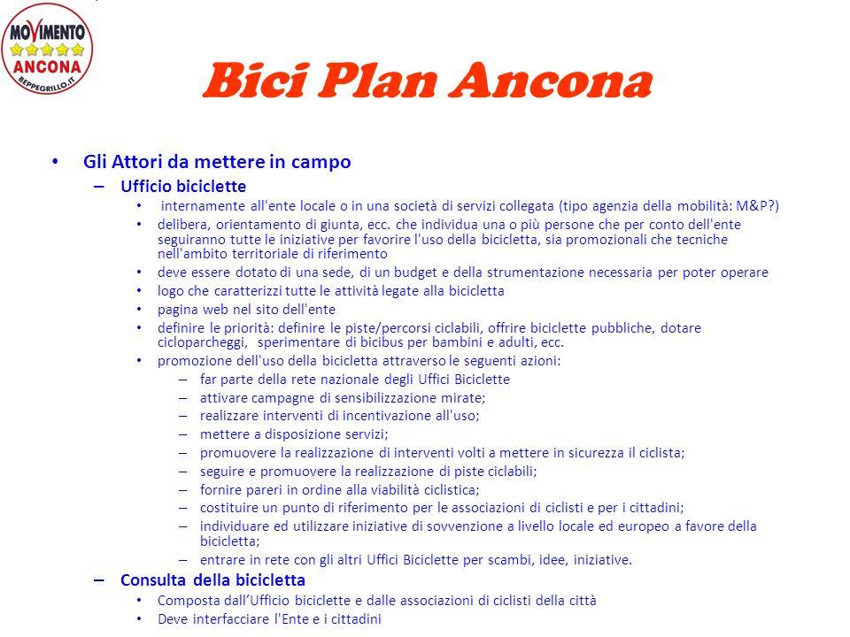 Bici Plan Ancona Bici Plan – Pianificazione della rete ciclabile urbana – Individua lo sviluppo dei percorsi da realizzare – Periodo 5-10 anni – Colle