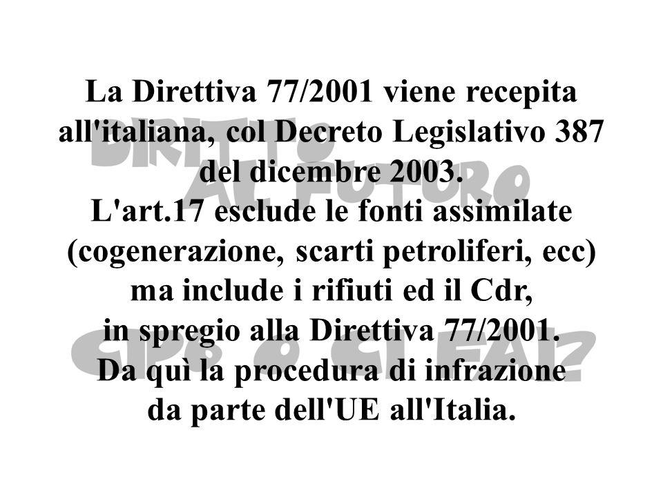 La Direttiva 77/2001 viene recepita all italiana, col Decreto Legislativo 387 del dicembre 2003.