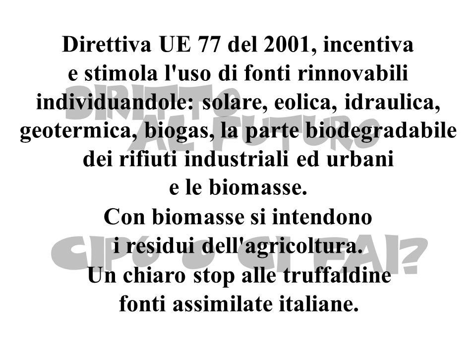 Direttiva UE 77 del 2001, incentiva e stimola l uso di fonti rinnovabili individuandole: solare, eolica, idraulica, geotermica, biogas, la parte biodegradabile dei rifiuti industriali ed urbani e le biomasse.