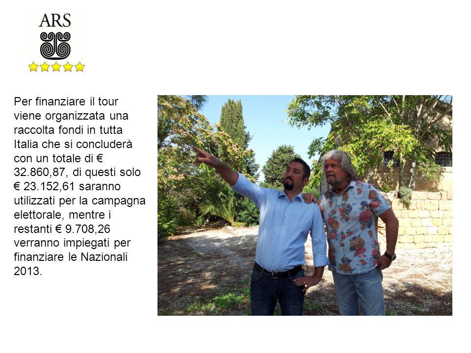 Per finanziare il tour viene organizzata una raccolta fondi in tutta Italia che si concluderà con un totale di 32.860,87, di questi solo 23.152,61 saranno utilizzati per la campagna elettorale, mentre i restanti 9.708,26 verranno impiegati per finanziare le Nazionali 2013.