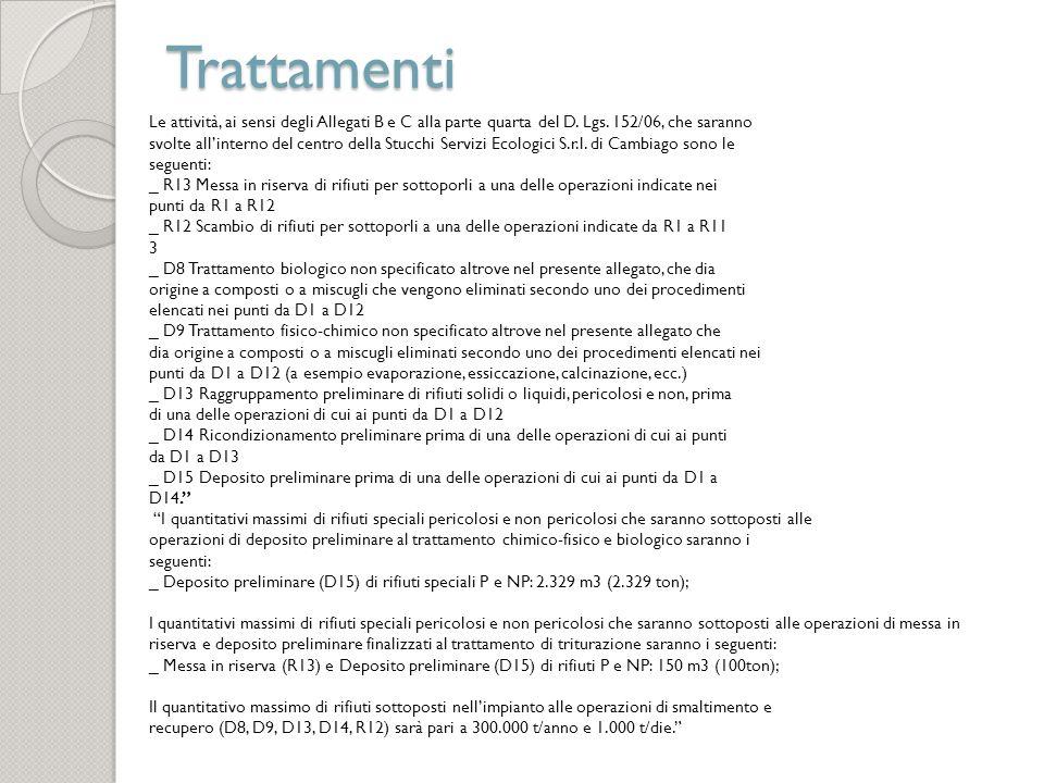 Trattamenti Le attività, ai sensi degli Allegati B e C alla parte quarta del D. Lgs. 152/06, che saranno svolte allinterno del centro della Stucchi Se