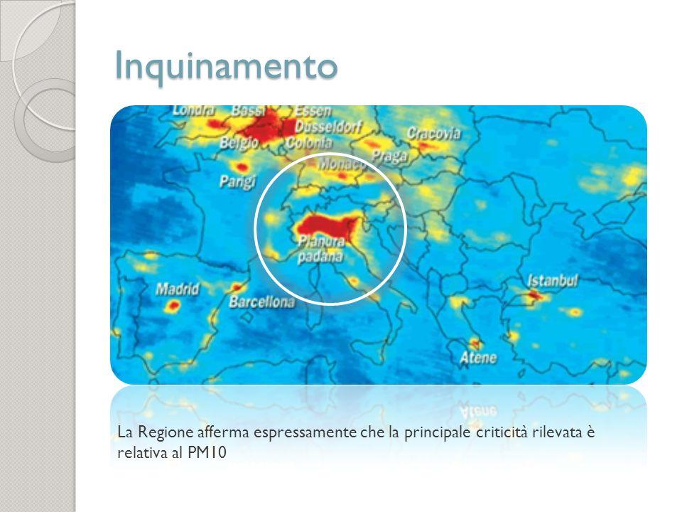 Inquinamento La Regione afferma espressamente che la principale criticità rilevata è relativa al PM10