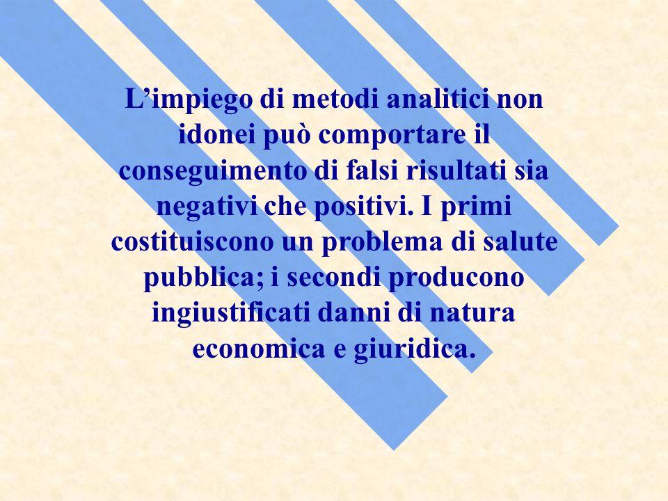 Limpiego di metodi analitici non idonei può comportare il conseguimento di falsi risultati sia negativi che positivi. I primi costituiscono un problem