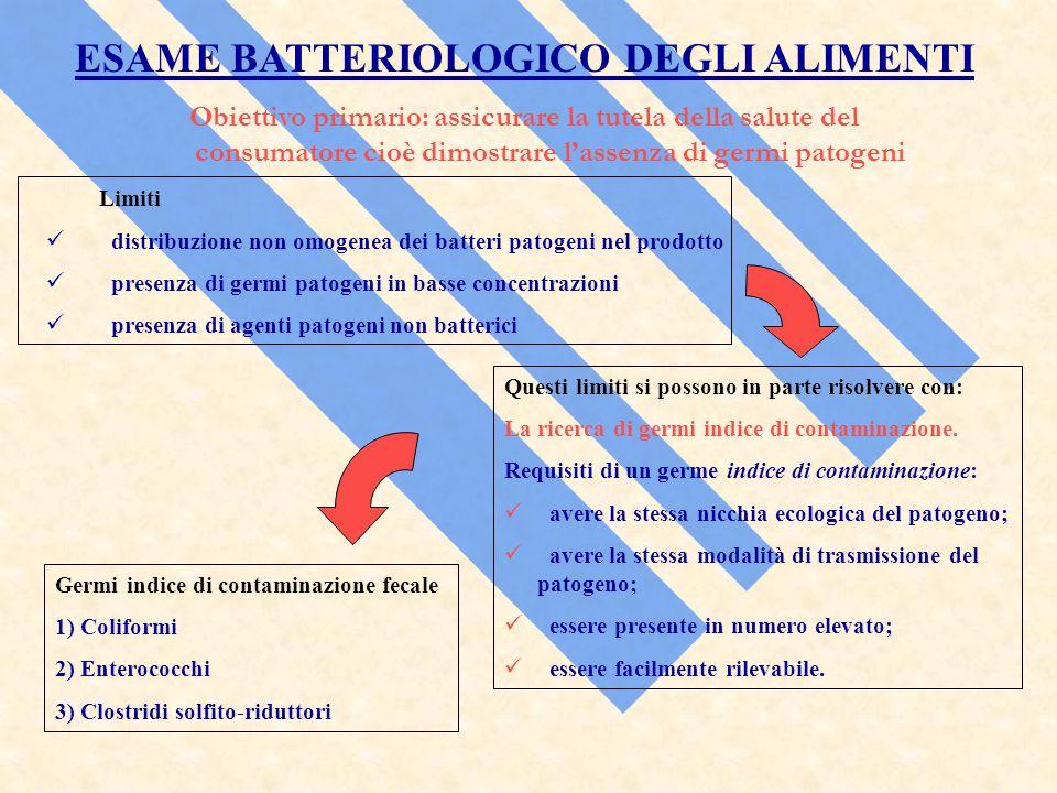ESAME BATTERIOLOGICO DEGLI ALIMENTI Obiettivo primario: assicurare la tutela della salute del consumatore cioè dimostrare lassenza di germi patogeni L