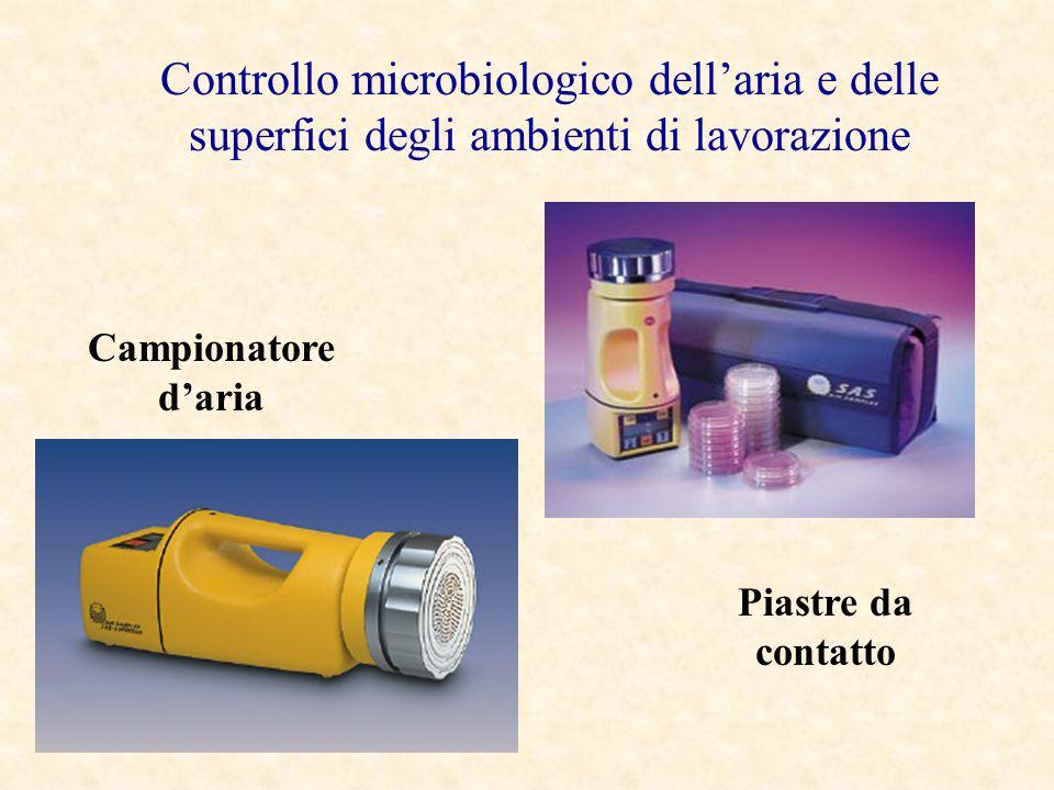 Controllo microbiologico dellaria e delle superfici degli ambienti di lavorazione Campionatore daria Piastre da contatto