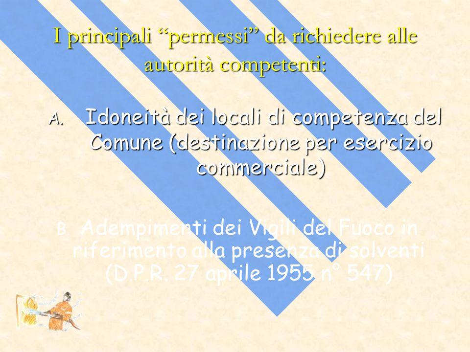 I principali permessi da richiedere alle autorità competenti: A. Idoneità dei locali di competenza del Comune (destinazione per esercizio commerciale)