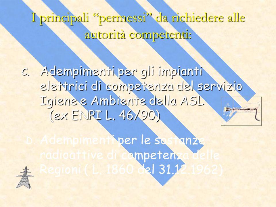 I principali permessi da richiedere alle autorità competenti: C. Adempimenti per gli impianti elettrici di competenza del servizio Igiene e Ambiente d