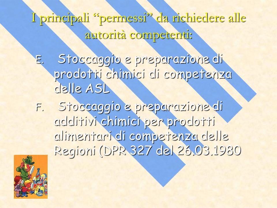 I principali permessi da richiedere alle autorità competenti: E. Stoccaggio e preparazione di prodotti chimici di competenza delle ASL F. Stoccaggio e