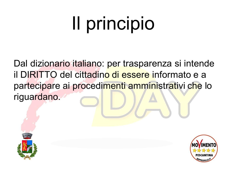 Il principio Dal dizionario italiano: per trasparenza si intende il DIRITTO del cittadino di essere informato e a partecipare ai procedimenti amministrativi che lo riguardano.