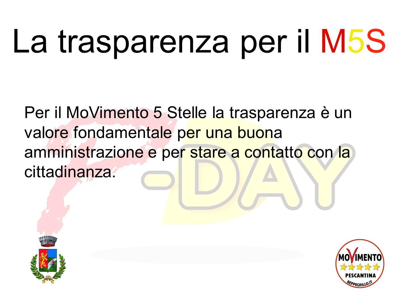 La trasparenza per il M5S Per il MoVimento 5 Stelle la trasparenza è un valore fondamentale per una buona amministrazione e per stare a contatto con la cittadinanza.