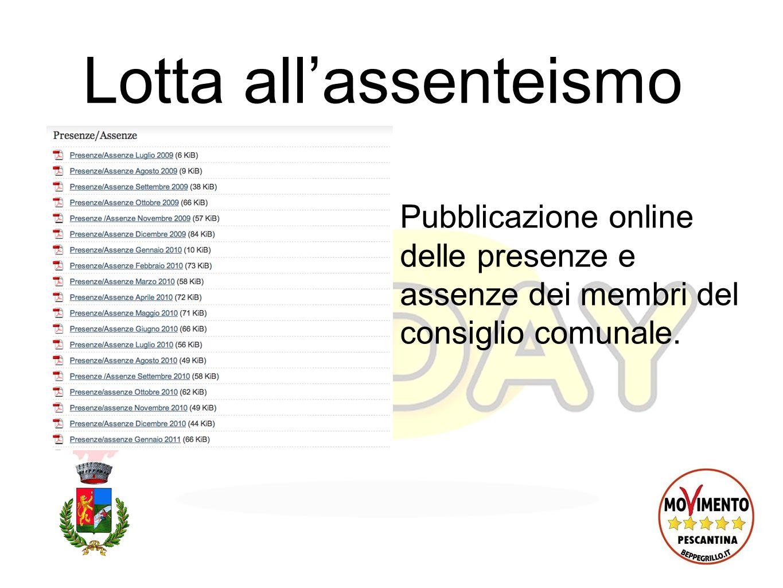 Lotta allassenteismo Pubblicazione online delle presenze e assenze dei membri del consiglio comunale.