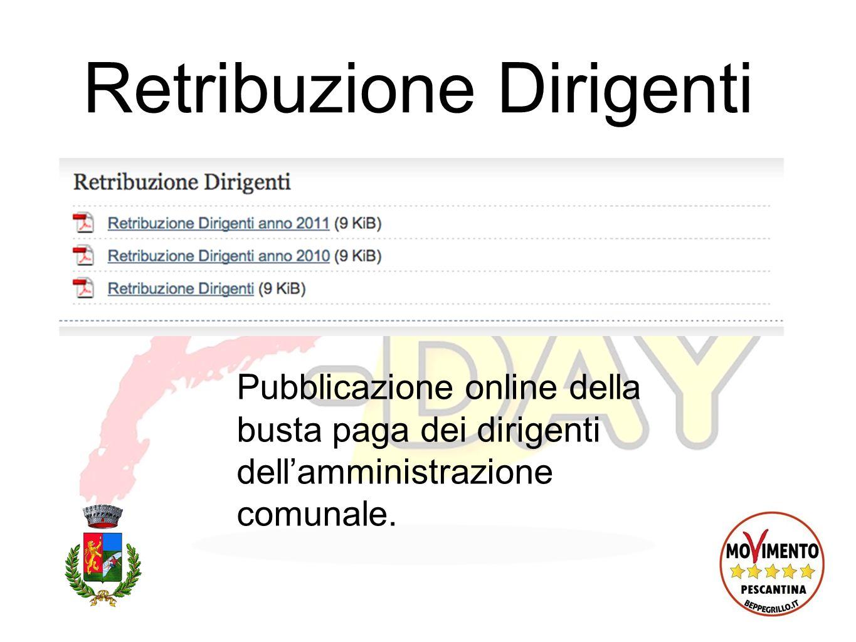 Retribuzione Dirigenti Pubblicazione online della busta paga dei dirigenti dellamministrazione comunale.