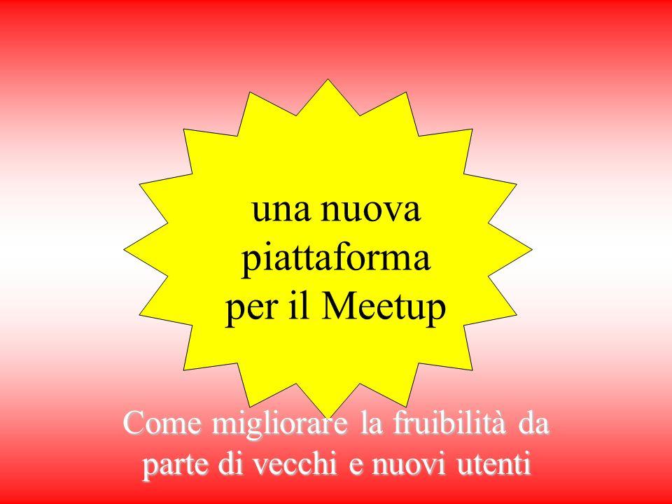 una nuova piattaforma per il Meetup Come migliorare la fruibilità da parte di vecchi e nuovi utenti