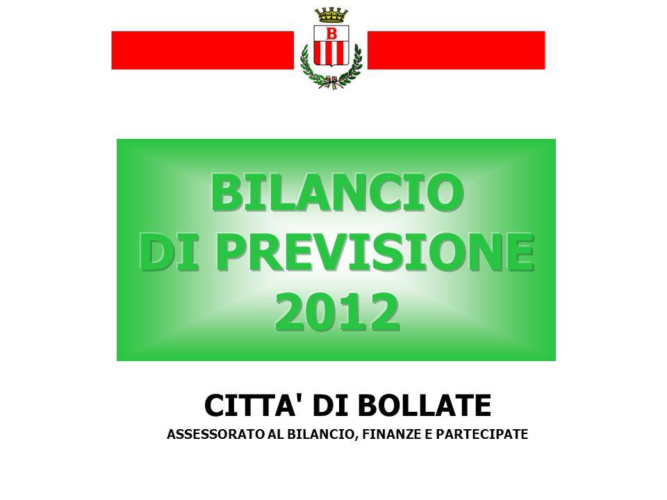 Effetti della Manovra finanziaria estiva 2010 e 2011 Legge di stabilità e Manovra Monti sul Comune di Bollate CITTA DI BOLLATE Bilancio di previsione 2012
