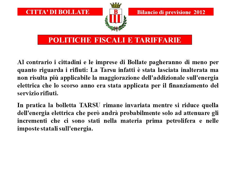 CITTA' DI BOLLATE Bilancio di previsione 2012 POLITICHE FISCALI E TARIFFARIE Al contrario i cittadini e le imprese di Bollate pagheranno di meno per q