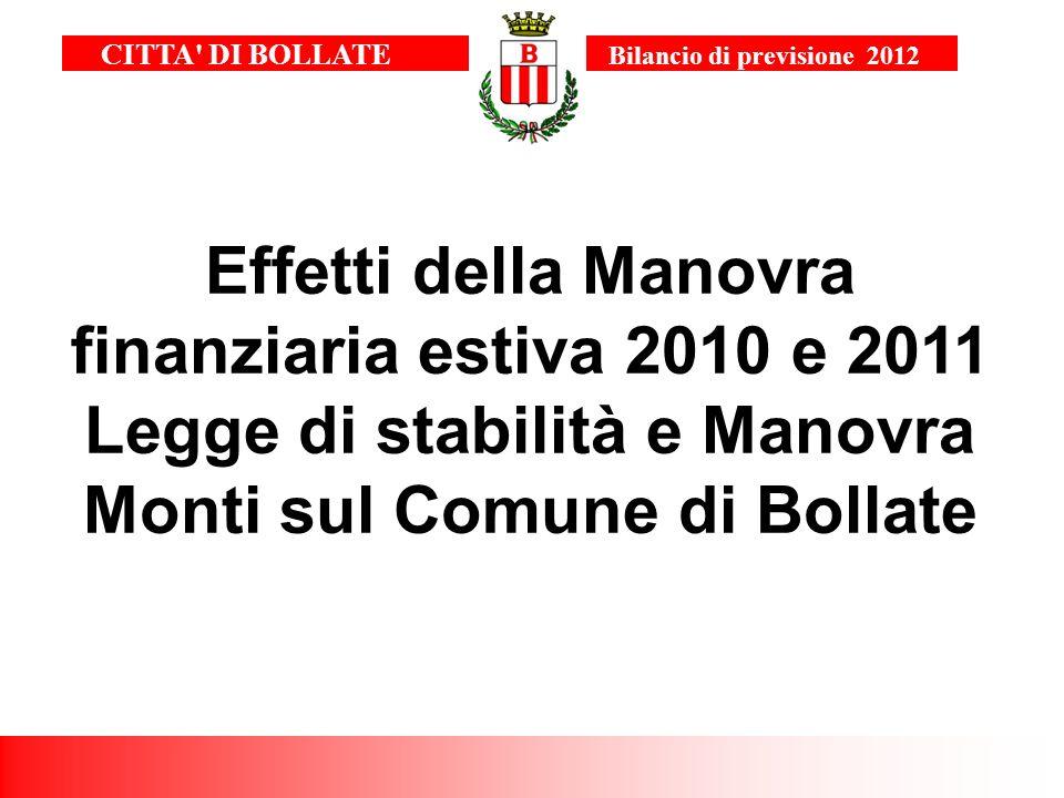 Effetti della Manovra finanziaria estiva 2010 e 2011 Legge di stabilità e Manovra Monti sul Comune di Bollate CITTA' DI BOLLATE Bilancio di previsione
