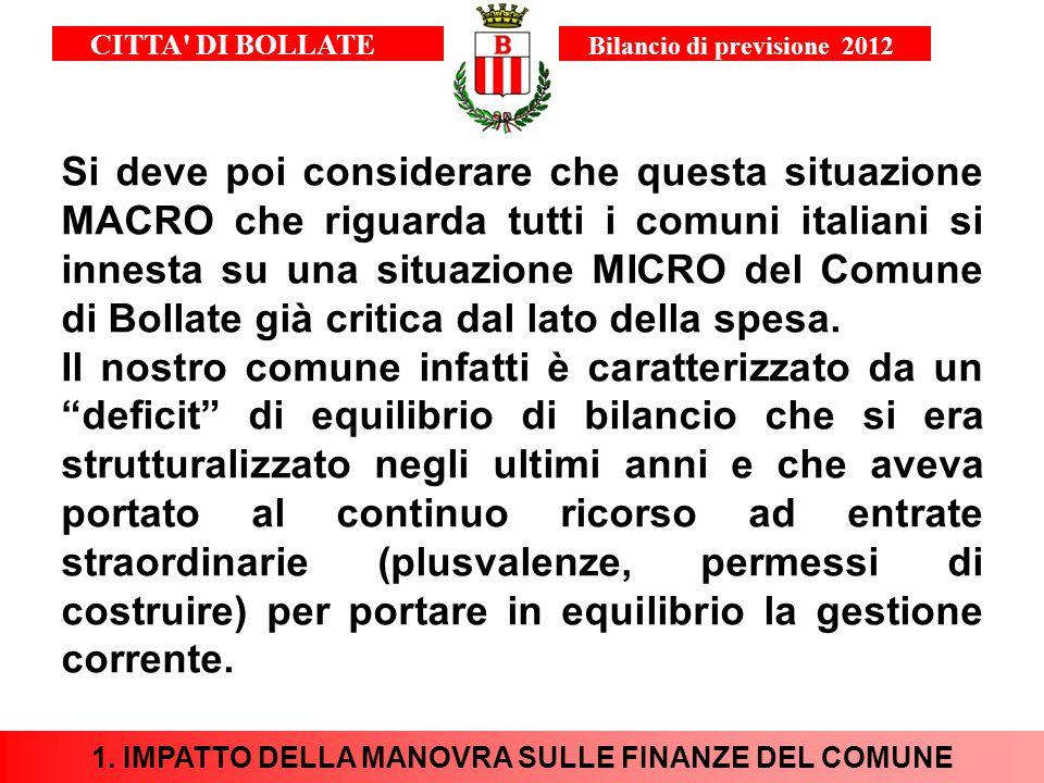 Si deve poi considerare che questa situazione MACRO che riguarda tutti i comuni italiani si innesta su una situazione MICRO del Comune di Bollate già