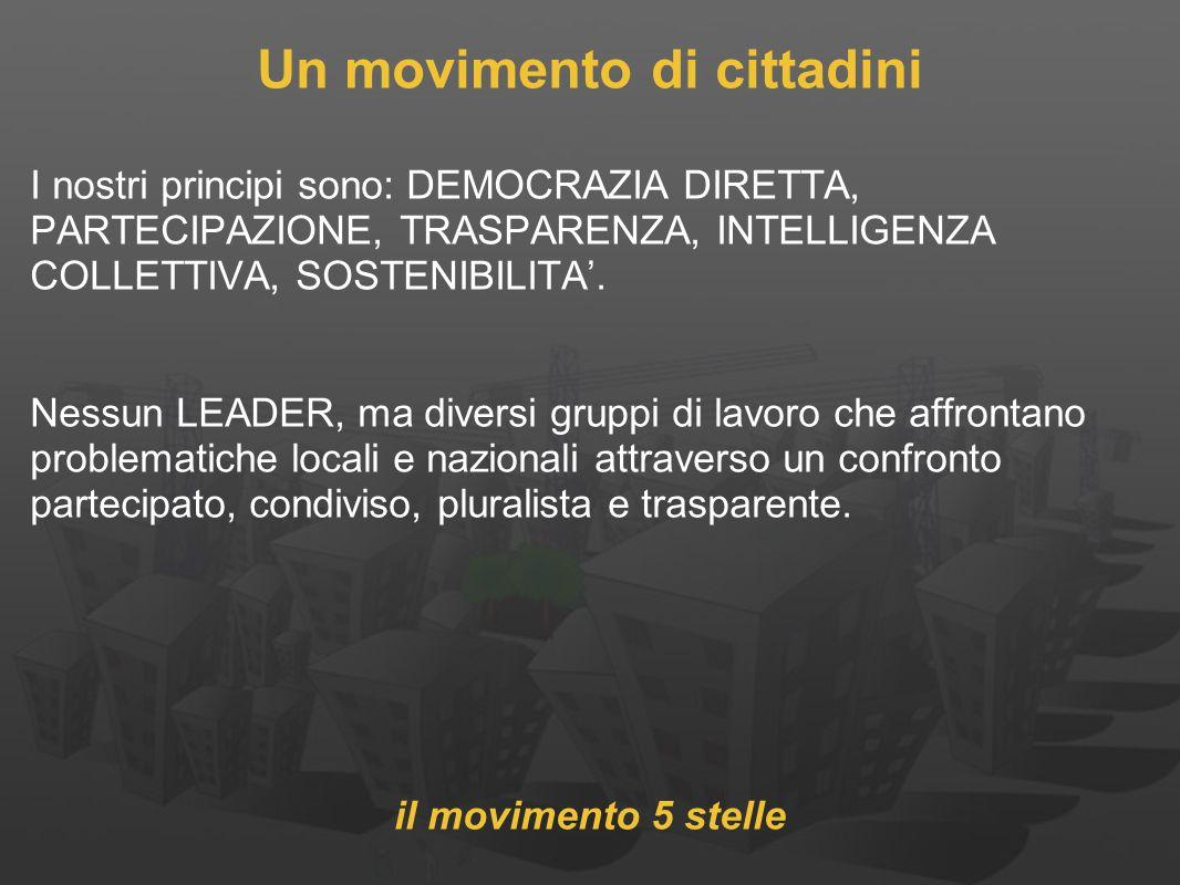 Un movimento di cittadini I nostri principi sono: DEMOCRAZIA DIRETTA, PARTECIPAZIONE, TRASPARENZA, INTELLIGENZA COLLETTIVA, SOSTENIBILITA.