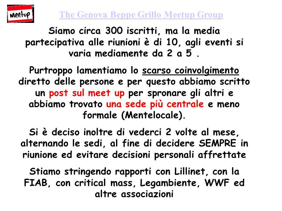 The Genova Beppe Grillo Meetup Group Siamo circa 300 iscritti, ma la media partecipativa alle riunioni è di 10, agli eventi si varia mediamente da 2 a 5.