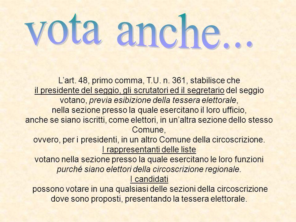 Lart. 48, primo comma, T.U. n. 361, stabilisce che il presidente del seggio, gli scrutatori ed il segretario del seggio votano, previa esibizione dell