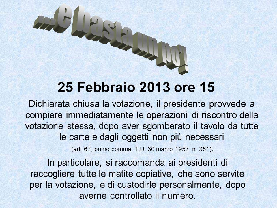 25 Febbraio 2013 ore 15 Dichiarata chiusa la votazione, il presidente provvede a compiere immediatamente le operazioni di riscontro della votazione stessa, dopo aver sgomberato il tavolo da tutte le carte e dagli oggetti non più necessari (art.