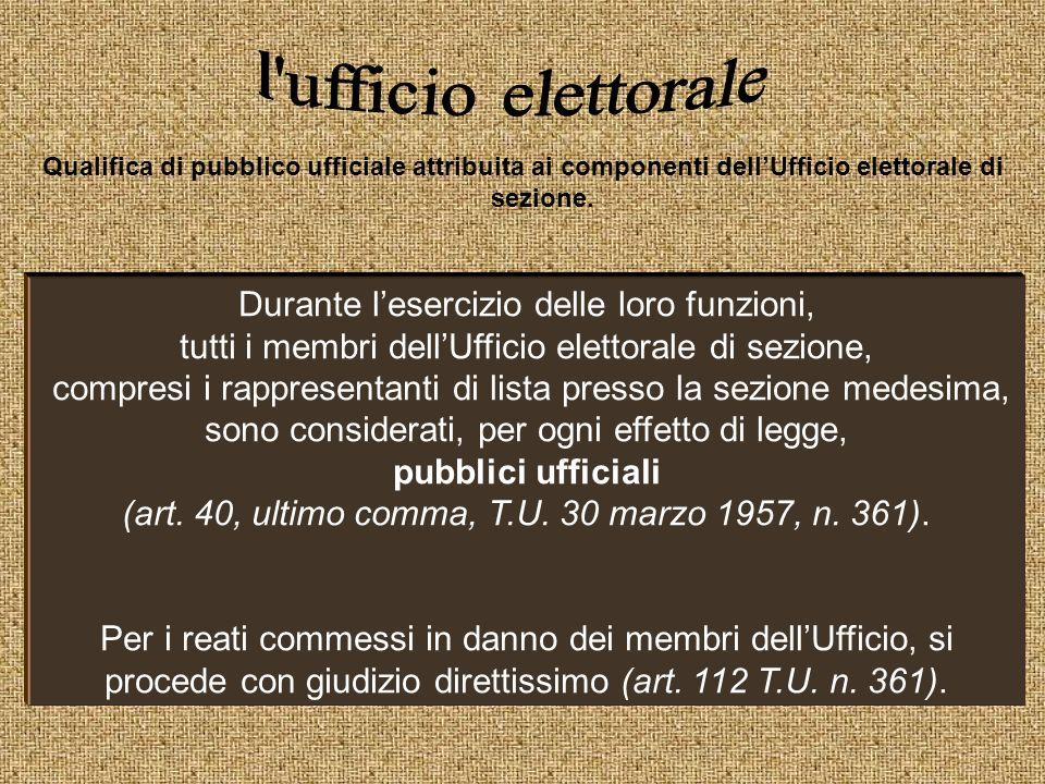 Qualifica di pubblico ufficiale attribuita ai componenti dellUfficio elettorale di sezione. Durante lesercizio delle loro funzioni, tutti i membri del