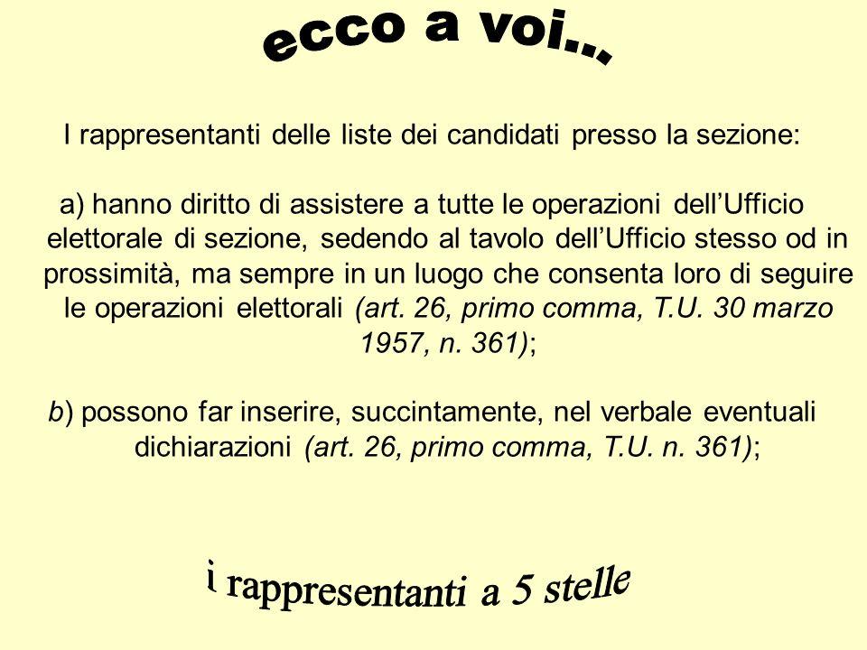 I rappresentanti delle liste dei candidati presso la sezione: a)hanno diritto di assistere a tutte le operazioni dellUfficio elettorale di sezione, se