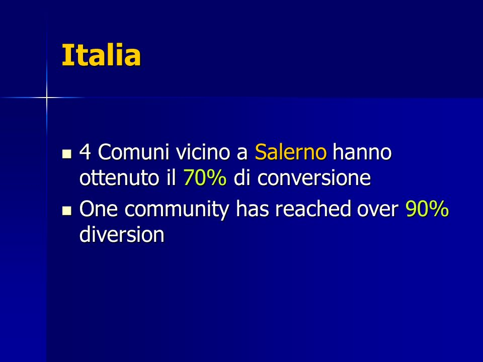 Italia 4 Comuni vicino a Salerno hanno ottenuto il 70% di conversione 4 Comuni vicino a Salerno hanno ottenuto il 70% di conversione One community has reached over 90% diversion One community has reached over 90% diversion