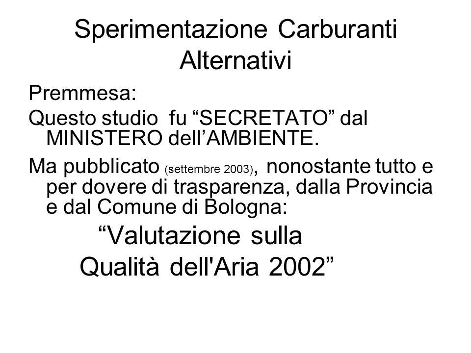 Sperimentazione Carburanti Alternativi Premmesa: Questo studio fu SECRETATO dal MINISTERO dellAMBIENTE. Ma pubblicato (settembre 2003), nonostante tut