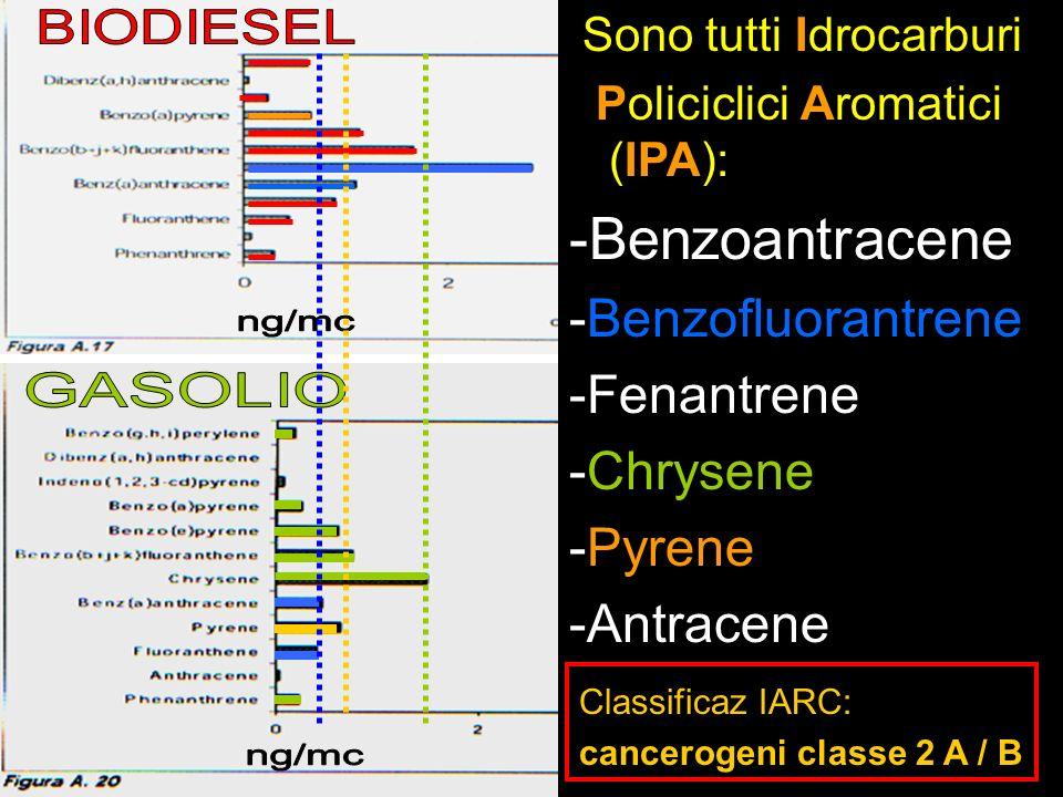 Sono tutti Idrocarburi Policiclici Aromatici (IPA): -Benzoantracene -Benzofluorantrene -Fenantrene -Chrysene -Pyrene -Antracene Classificaz IARC: canc