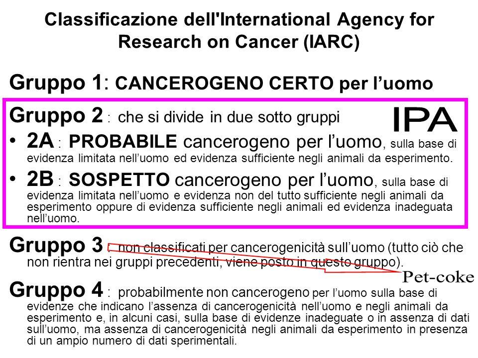 Classificazione dell'International Agency for Research on Cancer (IARC) Gruppo 1: CANCEROGENO CERTO per luomo Gruppo 2 : che si divide in due sotto gr