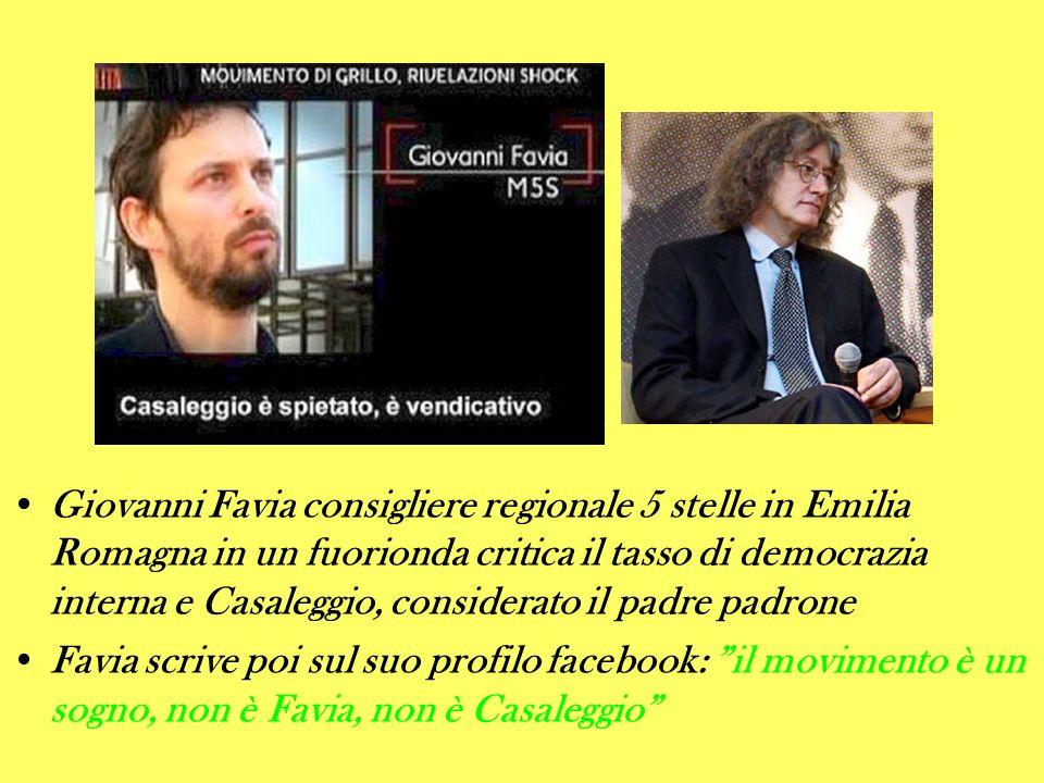 Giovanni Favia consigliere regionale 5 stelle in Emilia Romagna in un fuorionda critica il tasso di democrazia interna e Casaleggio, considerato il pa
