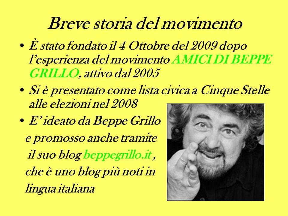 Breve storia del movimento È stato fondato il 4 Ottobre del 2009 dopo lesperienza del movimento AMICI DI BEPPE GRILLO, attivo dal 2005 Si è presentato