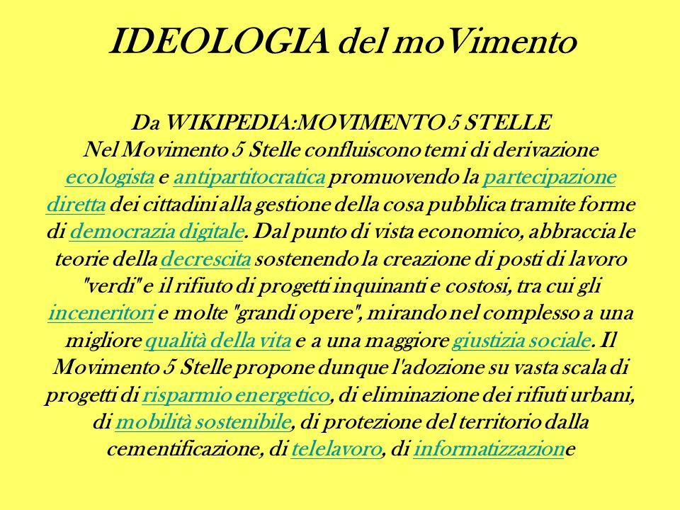 Da WIKIPEDIA:MOVIMENTO 5 STELLE Nel Movimento 5 Stelle confluiscono temi di derivazione ecologista e antipartitocratica promuovendo la partecipazione diretta dei cittadini alla gestione della cosa pubblica tramite forme di democrazia digitale.