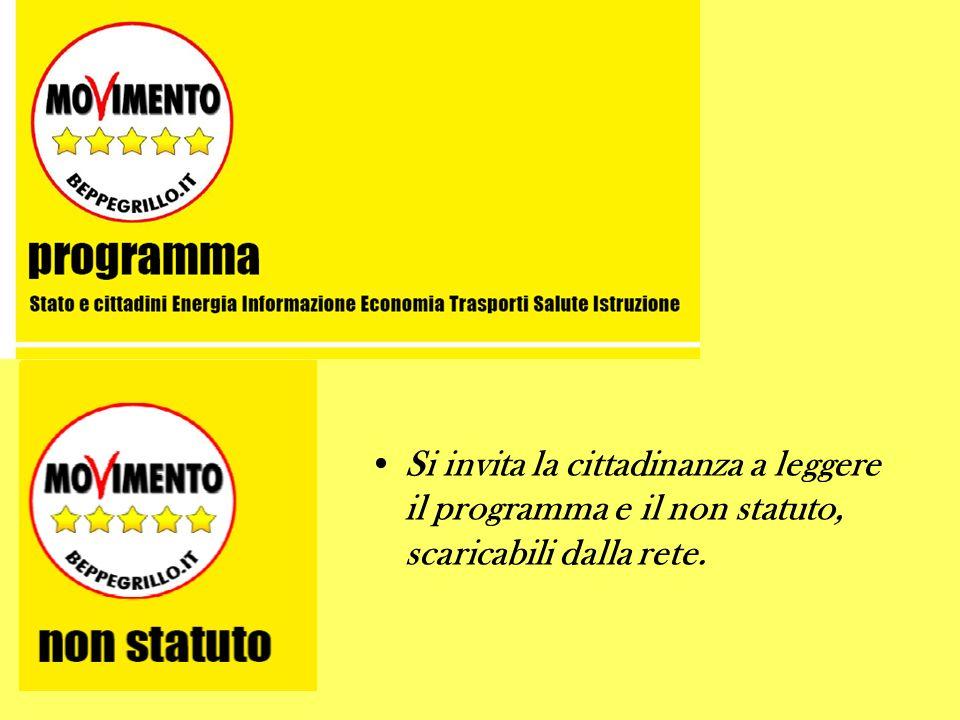 Si invita la cittadinanza a leggere il programma e il non statuto, scaricabili dalla rete.