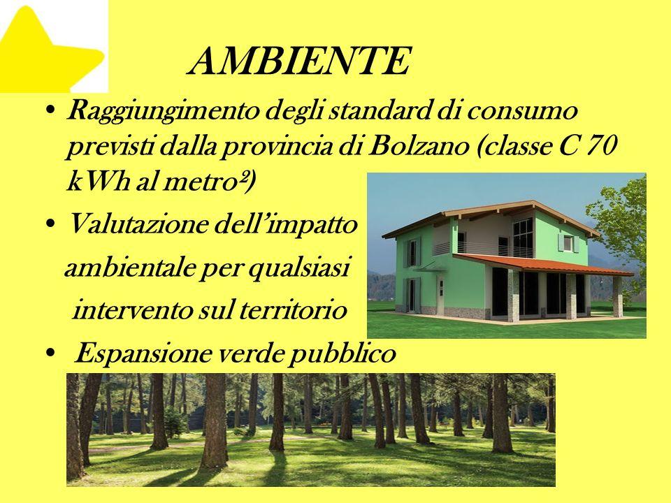 AMBIENTE Raggiungimento degli standard di consumo previsti dalla provincia di Bolzano (classe C 70 kWh al metro²) Valutazione dellimpatto ambientale per qualsiasi intervento sul territorio Espansione verde pubblico