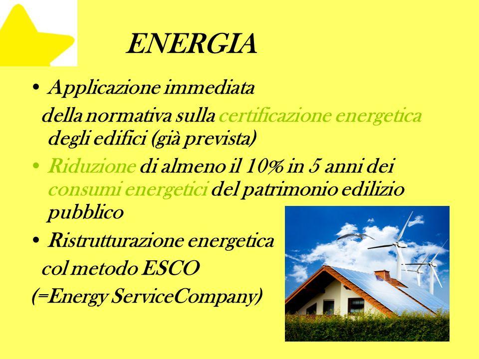 ENERGIA Applicazione immediata della normativa sulla certificazione energetica degli edifici (già prevista) Riduzione di almeno il 10% in 5 anni dei consumi energetici del patrimonio edilizio pubblico Ristrutturazione energetica col metodo ESCO (=Energy ServiceCompany)