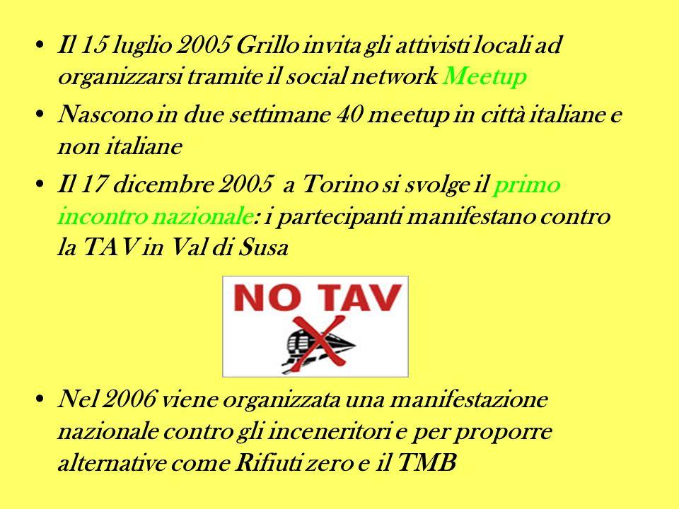 Il 15 luglio 2005 Grillo invita gli attivisti locali ad organizzarsi tramite il social network Meetup Nascono in due settimane 40 meetup in città ital