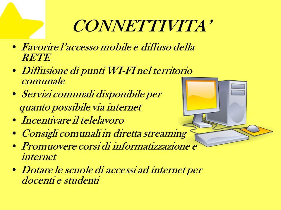 CONNETTIVITA Favorire laccesso mobile e diffuso della RETE Diffusione di punti WI-FI nel territorio comunale Servizi comunali disponibile per quanto p