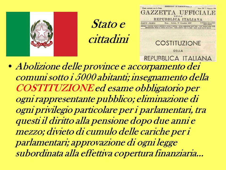 Stato e cittadini Abolizione delle province e accorpamento dei comuni sotto i 5000 abitanti; insegnamento della COSTITUZIONE ed esame obbligatorio per