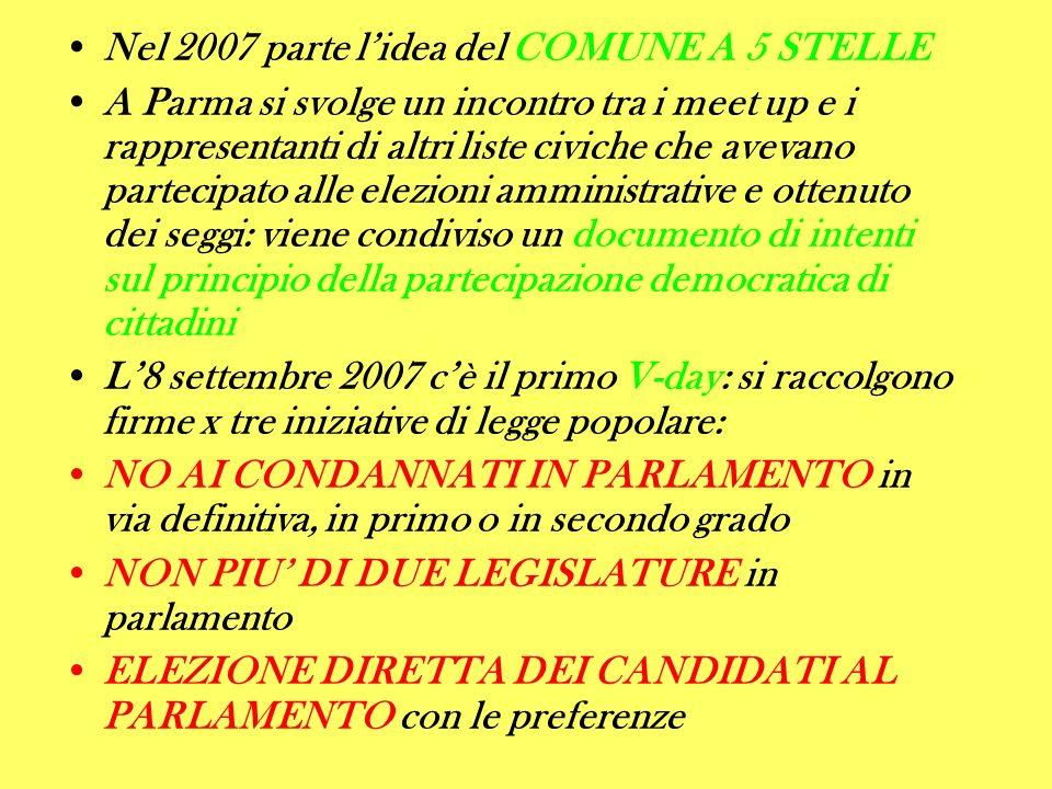 Nel 2007 parte lidea del COMUNE A 5 STELLE A Parma si svolge un incontro tra i meet up e i rappresentanti di altri liste civiche che avevano partecipato alle elezioni amministrative e ottenuto dei seggi: viene condiviso un documento di intenti sul principio della partecipazione democratica di cittadini L8 settembre 2007 cè il primo V-day: si raccolgono firme x tre iniziative di legge popolare: NO AI CONDANNATI IN PARLAMENTO in via definitiva, in primo o in secondo grado NON PIU DI DUE LEGISLATURE in parlamento ELEZIONE DIRETTA DEI CANDIDATI AL PARLAMENTO con le preferenze
