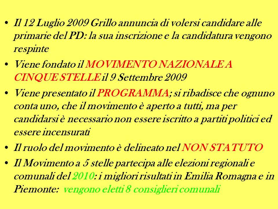 Il 12 Luglio 2009 Grillo annuncia di volersi candidare alle primarie del PD: la sua inscrizione e la candidatura vengono respinte Viene fondato il MOV